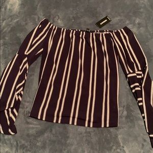 Express Off the Shoulder Striped Blouse